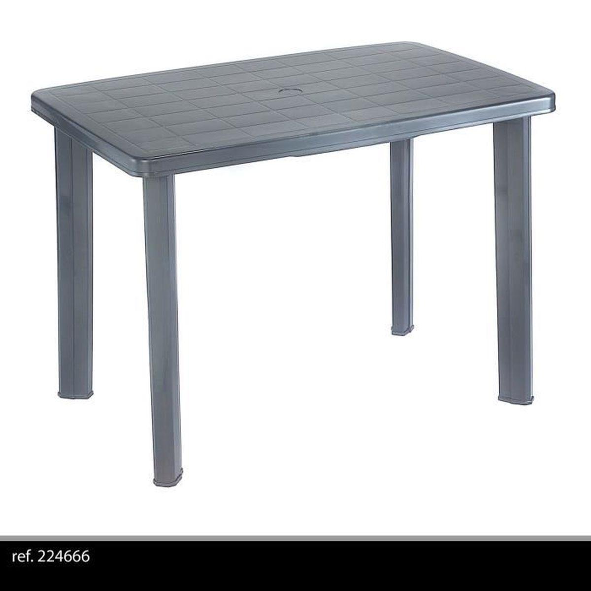 TABLE DE JARDIN DÉMONTABLE EN PLASTIQUE POUR CAMPING OU REPAS EN EXTERIEUR  GRISE 100X70 EMPLACEMENT PARASOL