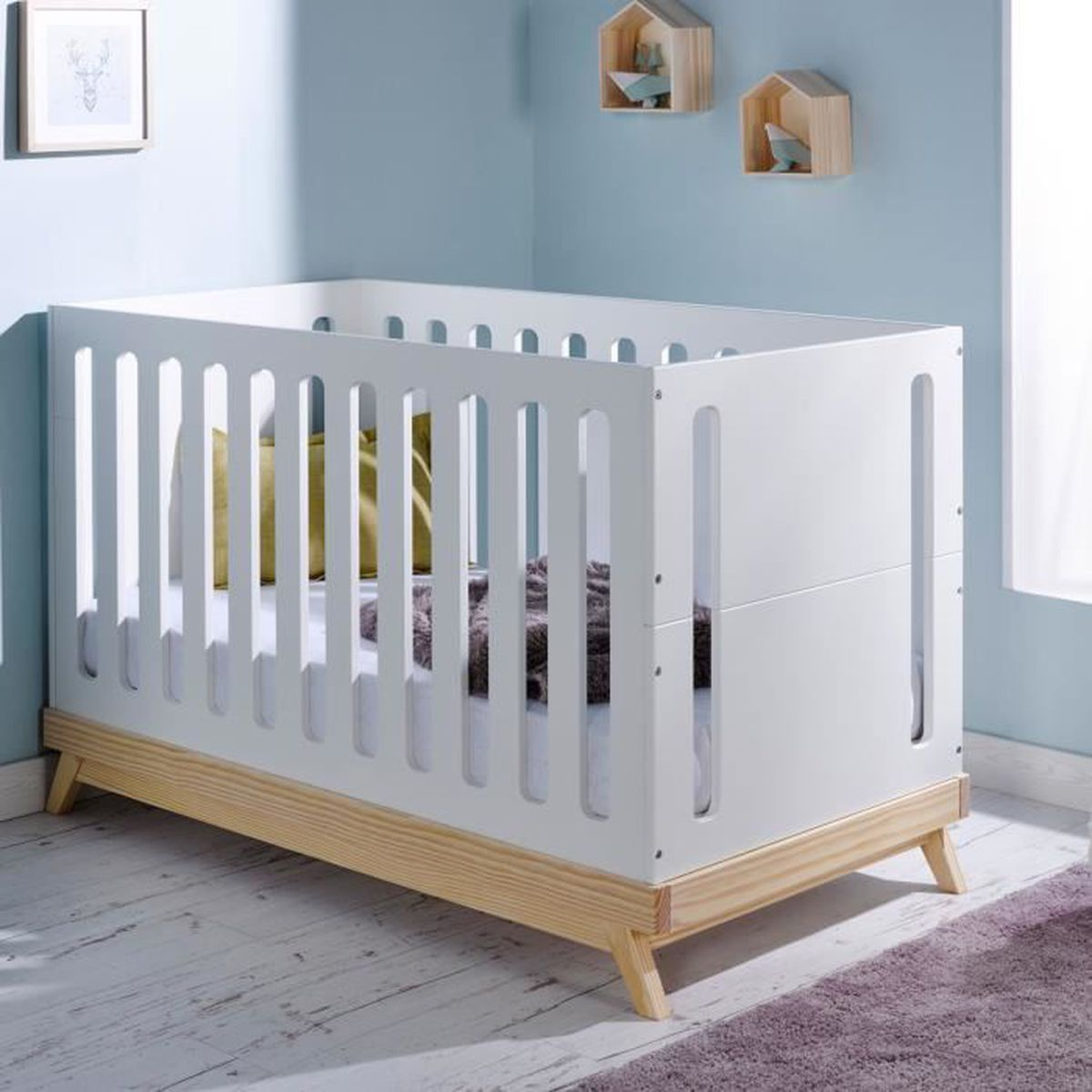 lit bebe evolutif 70x140 scandinave blanc blanc achat. Black Bedroom Furniture Sets. Home Design Ideas