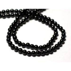 Perles de Pierre Spinelle Noir Boules Facettées 3-4mm 10pc