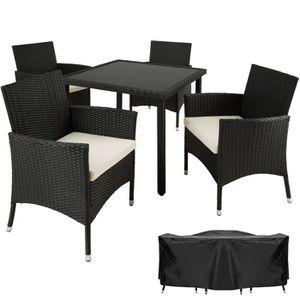 TECTAKE Salon de jardin SEVILLA - 4 Chaises et 1 Table en ...