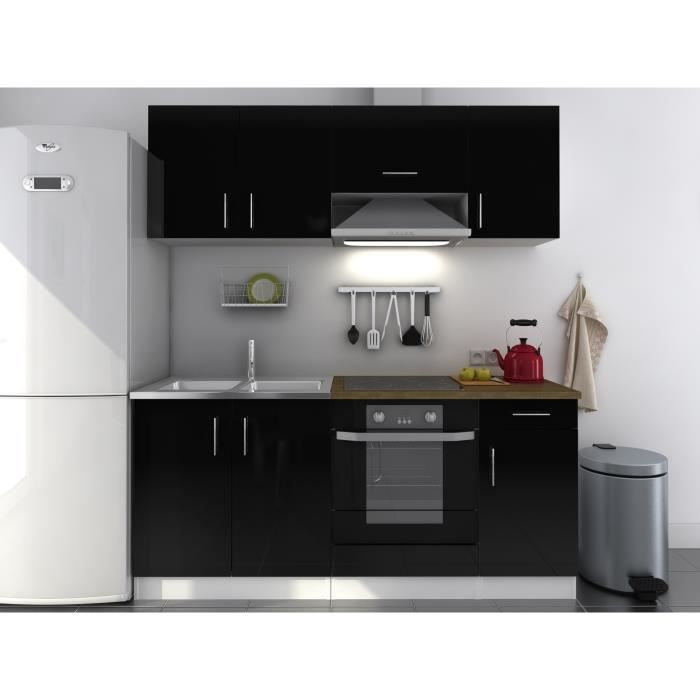 evo cuisine compl te laqu e noire 180 cm achat vente. Black Bedroom Furniture Sets. Home Design Ideas
