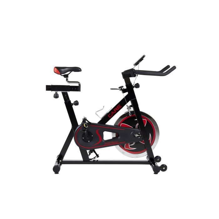 CARE Vélo spinning Speed Racer - Roue 20 Kg - Noir