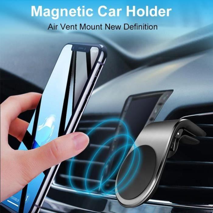 Support de téléphone de voiture magnétique Support de téléphone portable Support de sortie d'air Support de téléphone, noir