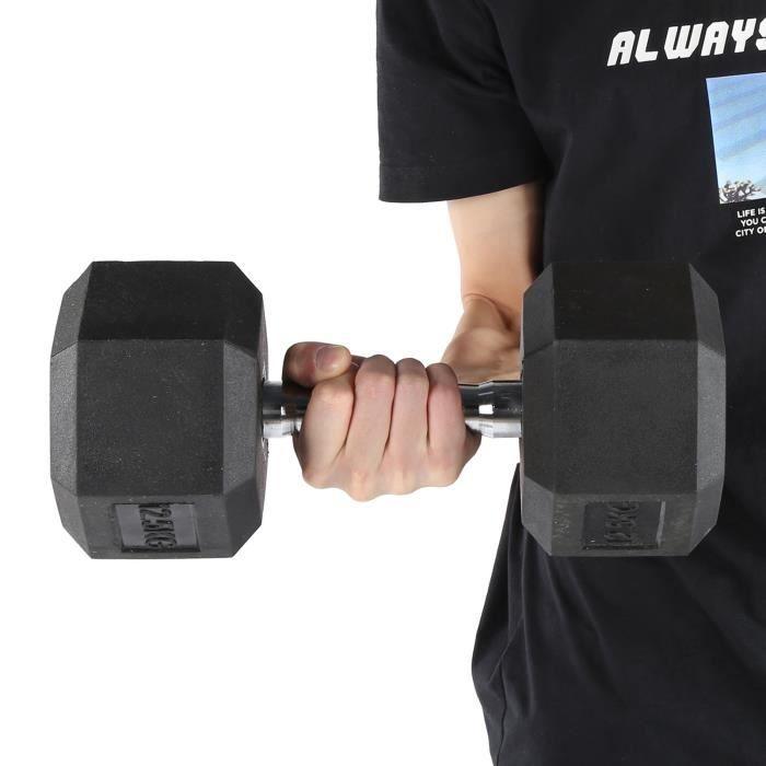 12,5 kg en caoutchouc hexagone exercice haltère gymnase à domicile entraînement équipement de remise en forme sans défilement -RAI