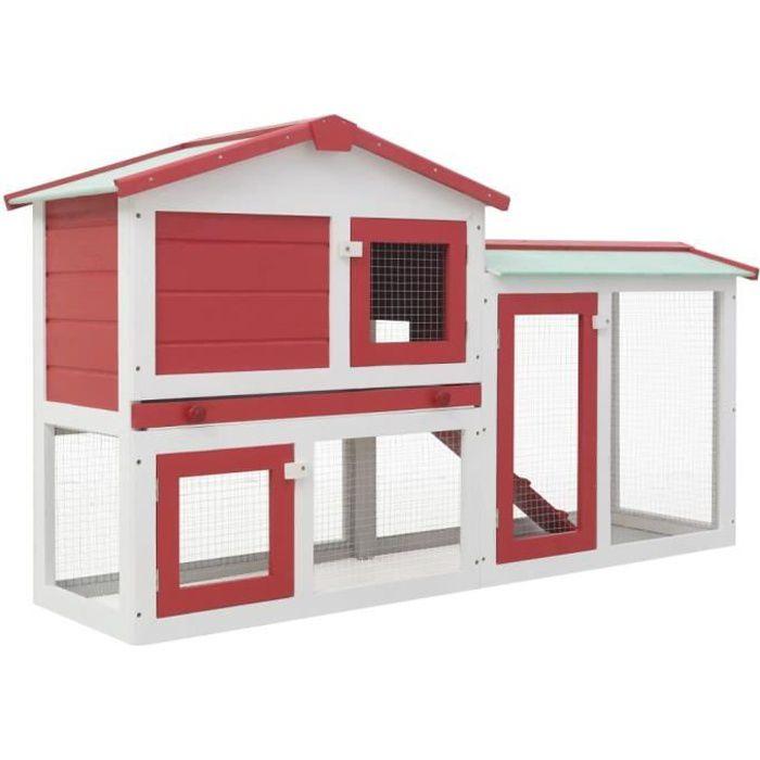 Clapier large d'extérieur Clapier lapin Rouge et blanc 145x45x85 cm Bois