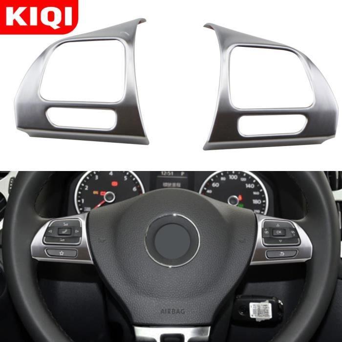 KIQI – couverture chromée de garniture de volant, autocollant pour Volkswagen Vw Golf Mk6 Passat B7 Cc Carbon Fiber Black