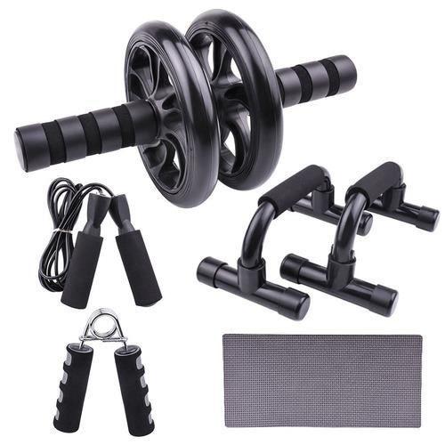 Three 5 en 1 Ensemble d'Appareils de Fitness Support push-up Roue abdominale double roue - multifonction (Noir)