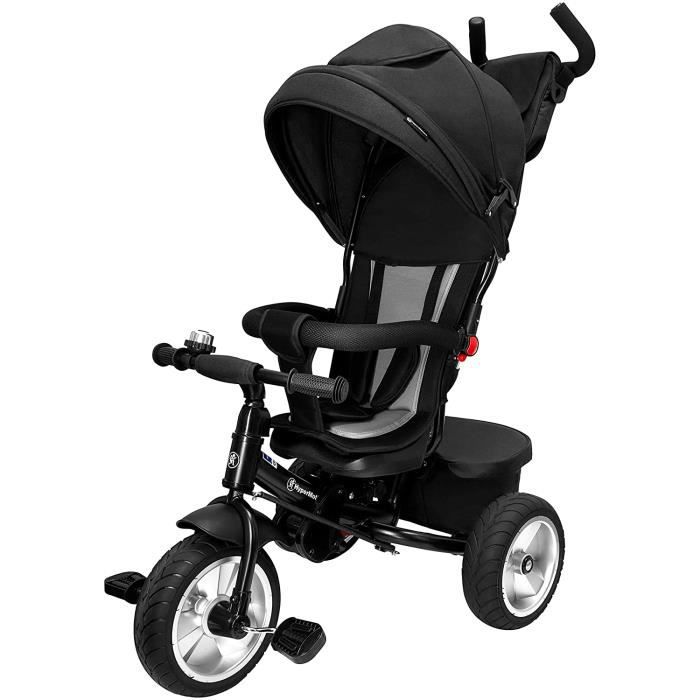 HyperMotion Tricycle Évolutif Enfant 1 à 5ans - Roues Pompées, Repose Pieds, Poussoir Réglable, Design soigné, Poussette Noire