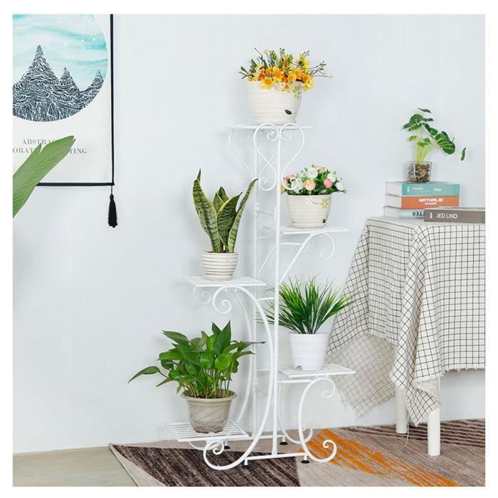Pot de fleur Étagères de support, Porte Pot de Plantes Pied de 5 Niveaux, Étagère Escalier pour Fleurs blanc
