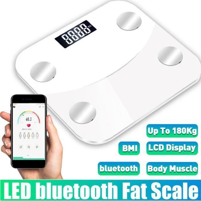BRAVOTW Pèse Personne Impédancemètre Bluetooth Intelligente LED BMI
