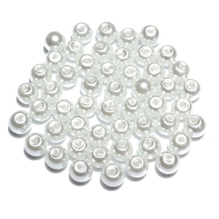 Kit Lot Perles Verre Fabrication de Bijoux DIY Bracelet Collier Breloque Goutte 4mm-100pcs-White Aw70900