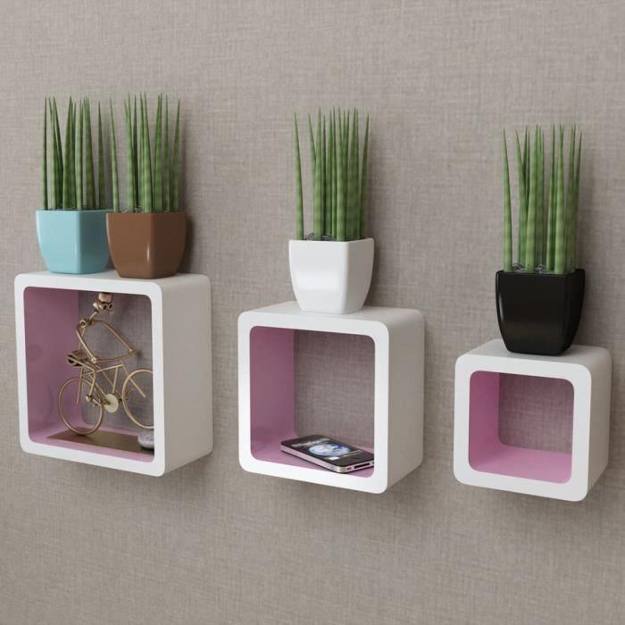 3 Etagères cubes murales en MDF Blanc-Rose pour Livres-DVD