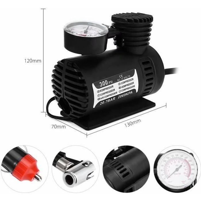 Portable 12 V Gonfleur de pompe à air Compresseur électrique pour pneus de voiture bateaux Camping Air Lit gonflables LIA8325