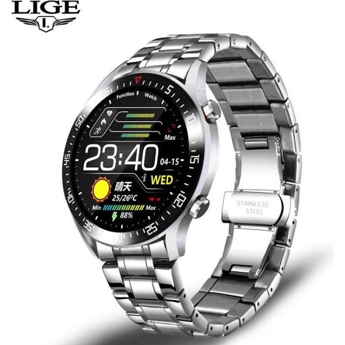 Montre connectée,LIGE sport de luxe montre intelligente hommes IP68 étanche Fitness montre adapté pour - Type S sliver black