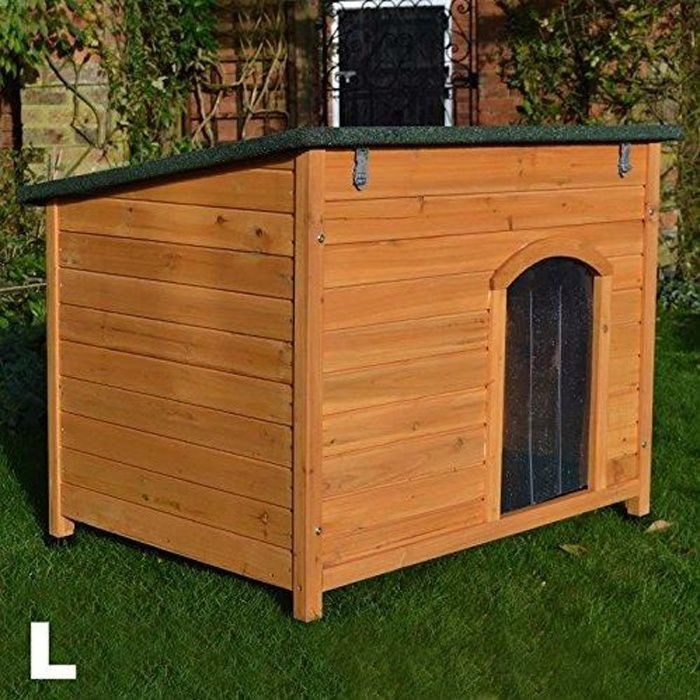 Niche en bois large, avec toit incliné pour chien