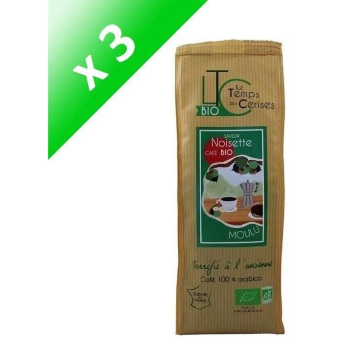 [LOT DE 3] LE TEMPS DES CERISES Café moulu BIO saveur Noisette - 250 G