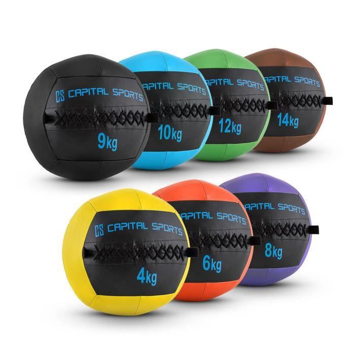 CAPITAL SPORTS Wallba - Set complet 7x Wall Ball en cuir synthétique pour exercices core & fitness, cross-training : de 4 à 14kg