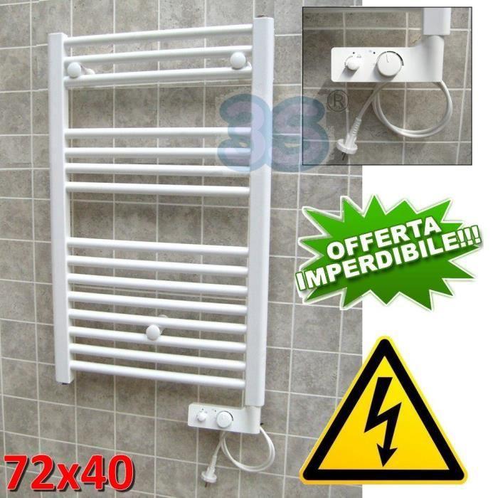 Sèche-serviettes Rideau électrique Blanc cm 72 x 40 avec thermostat