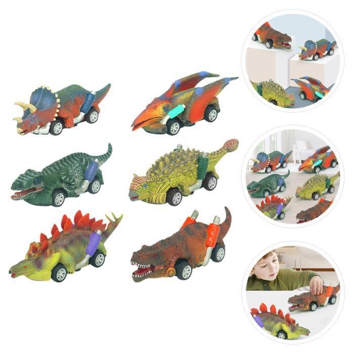 6pcs dinosaure voiture jouets dessin animé tire vehicule miniature assemble - engin terrestre miniature assemble monde miniature