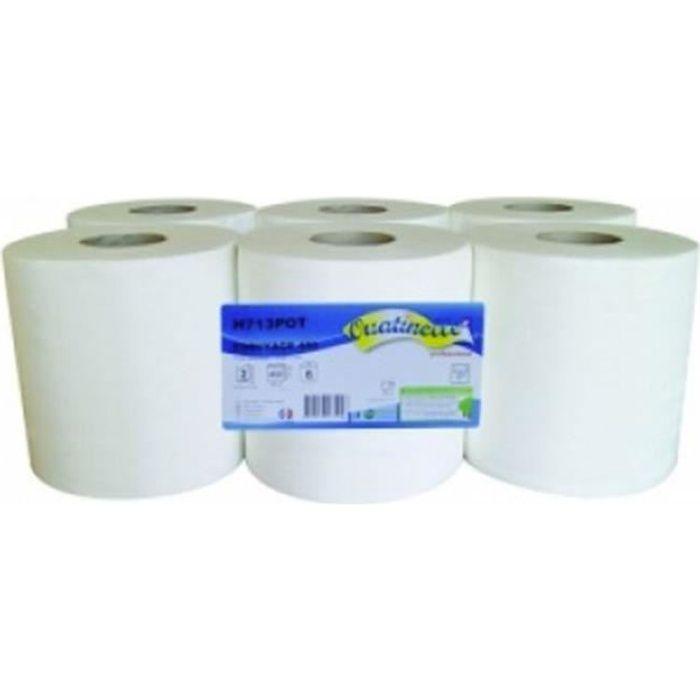 Essuie-mains pure ouate 2x21g/m² - Carton de 6 rouleaux - 2 plis - 110m en continu - H782POT