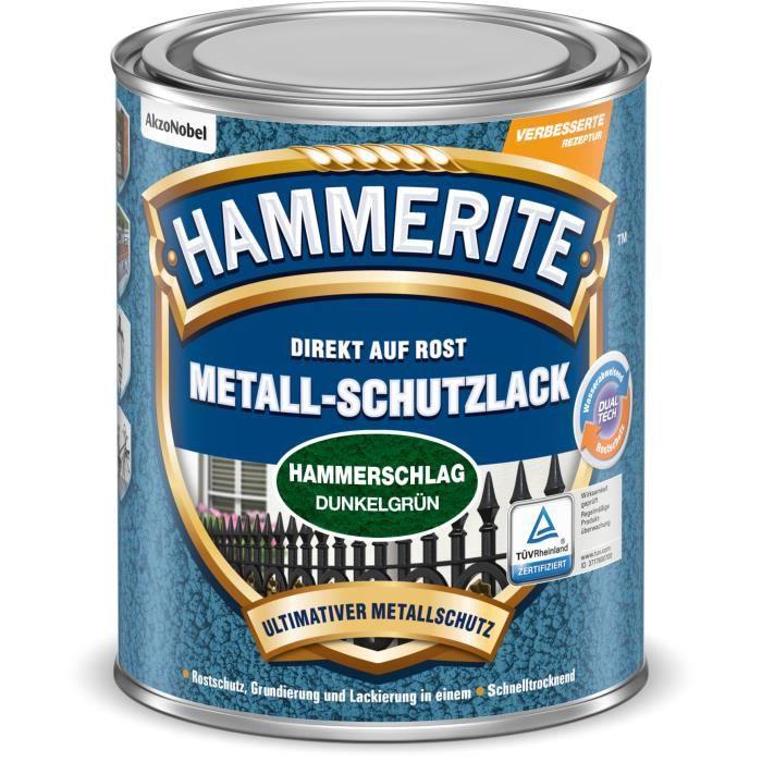 Hammerite Metall-Schutzlack Hammerschlag, Prêt à l'emploi, Clôture, Meubles, Escalier, A effet martelé, Vert, 10 m²-L