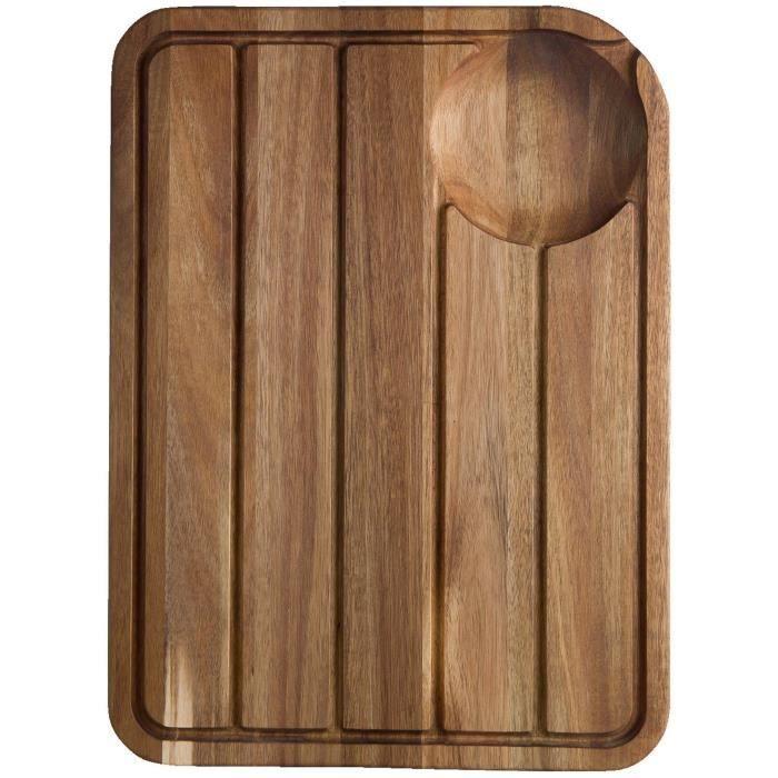 Jamie Oliver Jo Planche à découper avec rainures jus Système Planche à découper Bois, Acier Inoxydable, 46 x 33,5 x 2,5 cm - JB190