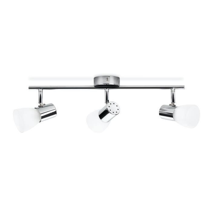 PHILIPS Barre de 3 spots d'éclairage LED Coir - Chrome - Ampoule incluse