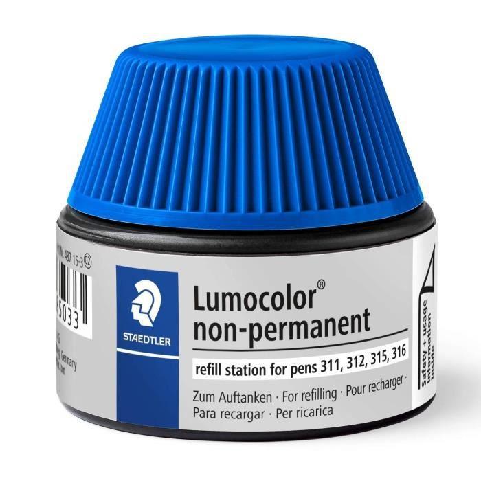 Lumocolor® 487 15 - Flacon recharge 15 ml pour feutres non-permanents 311-312-315-316 bleu