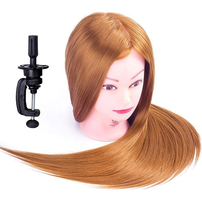 Tete a Coiffer, 66cm Tête de coiffure 100% de Cheveux Synthétiques Têtes d'exercice pour le Salon Coiffeur Poupée avec Support A32