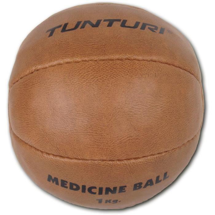 TUNTURI Balle de médecine / Ballon médicinal / Medicine ball en cuir synthétique 1kg marron