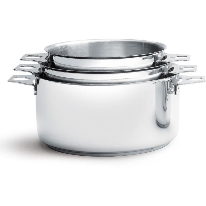 DE BUYER - 3491.03 - Lot 3 casseroles - FAITOUTS TWISTY - Ø 16cm + 18cm + 20cm - Acier Inox