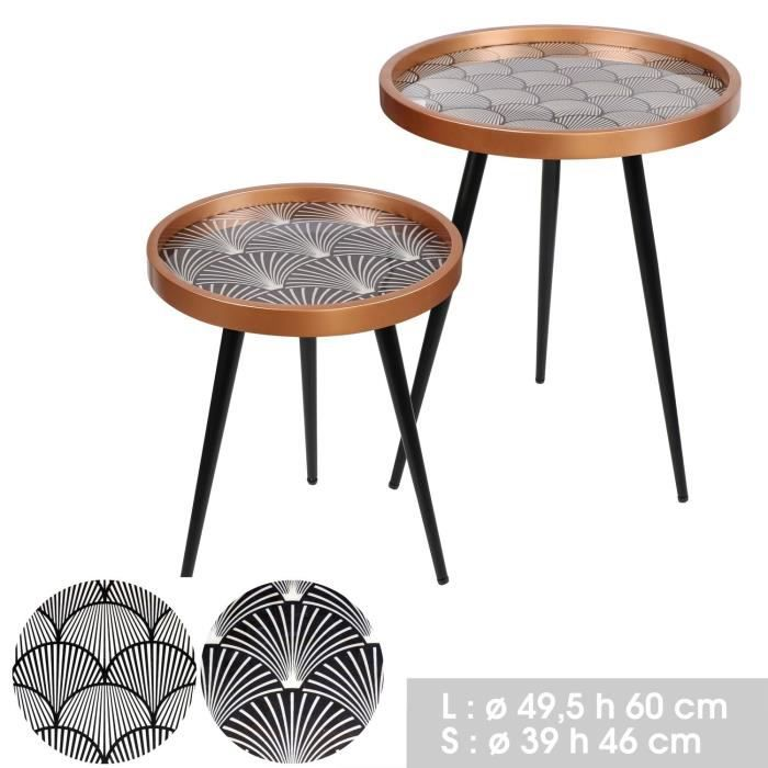 2 Tables d'appoint design Art Déco - Noir