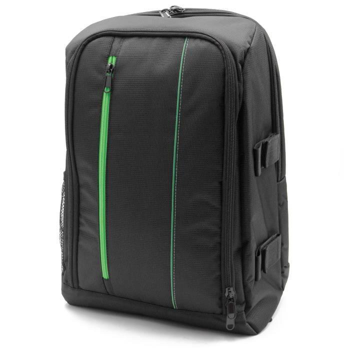 vhbw photo sac à dos compatible avec Canon EOS 6D, 700D, 70D, 750D, 760D, 7D, 8000D, Kiss Digital X appareil photo - nylon, noir /