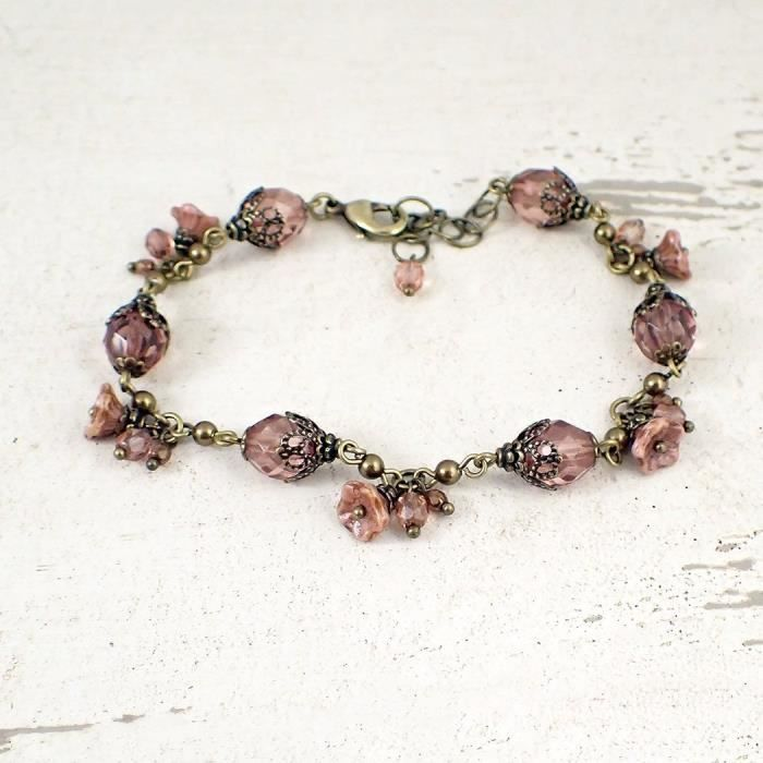 MONTRE Rose Femmes Dusty Rose Vintage style Flower Dangle