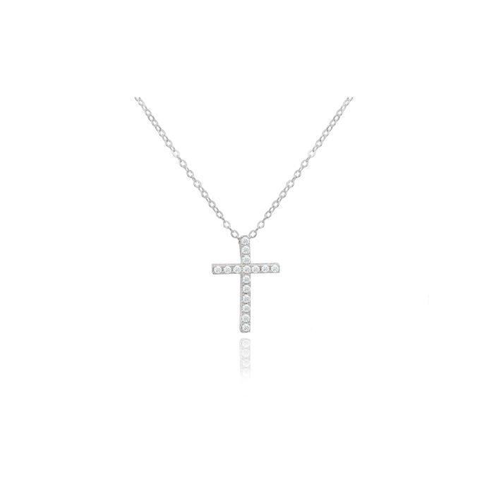 CHAINE DE COU SEULE bijoux brillants femmes rondes coupe cz croix pend