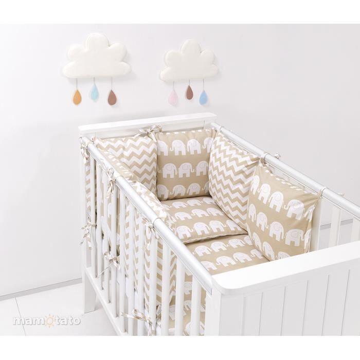 Tour de lit composé de 6 coussins pour lit de bébé 60 x 120 ...