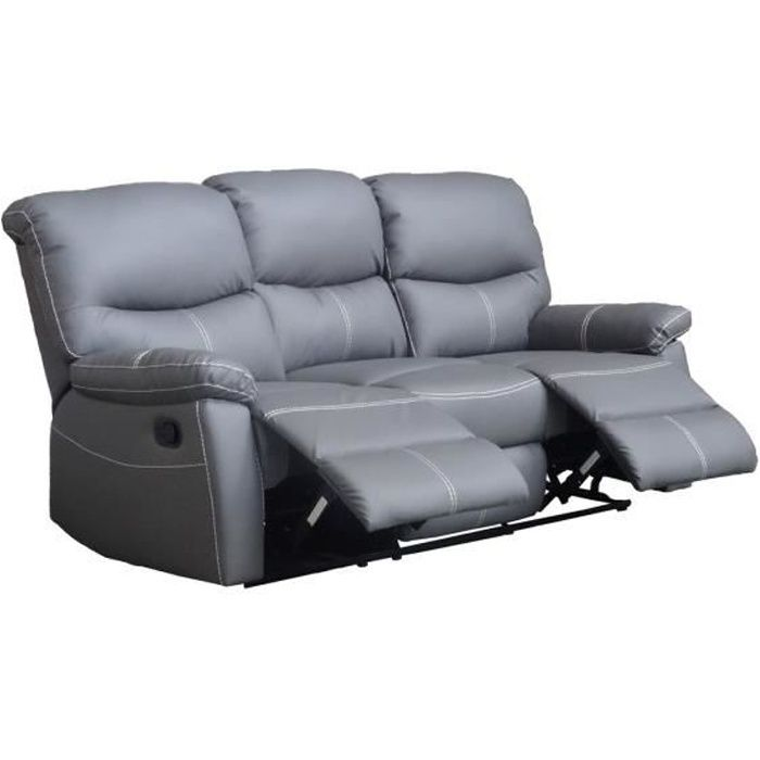 canap sofa divan canap 3 places relax gris joey - Canape 3 Places Relax