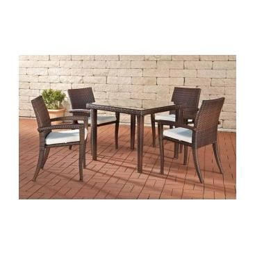 Ensemble table et chaises de jardin giuliano brun for Ensemble table et chaise de jardin grosfillex