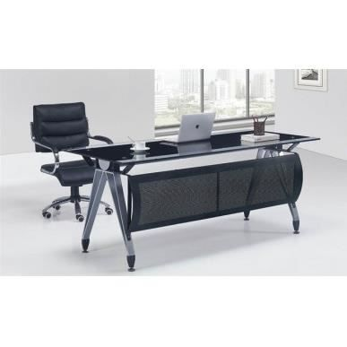 bureau en verre tremp noir basilea ne 160x80 c achat vente bureau bureau en verre tremp. Black Bedroom Furniture Sets. Home Design Ideas