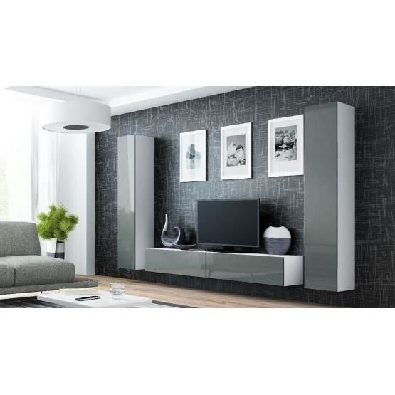 ensemble meuble tv design mito blanc et gris achat. Black Bedroom Furniture Sets. Home Design Ideas