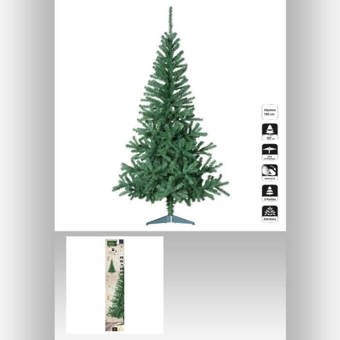 sapin de noel artificiel seasons vert 180 cm achat vente sapin arbre de no l carton pvc. Black Bedroom Furniture Sets. Home Design Ideas