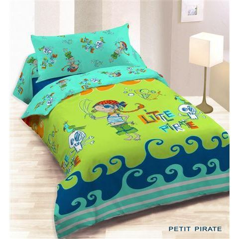 housse couette 140x200 1 taie petit pirate achat vente parure de couette cdiscount. Black Bedroom Furniture Sets. Home Design Ideas