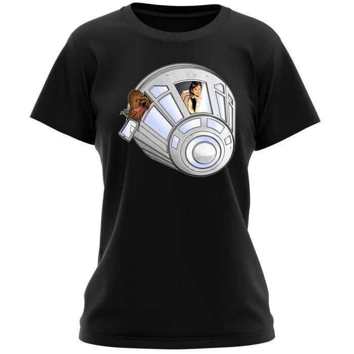 T-SHIRT T-shirt Femme Noir Star Wars parodique Han Solo et