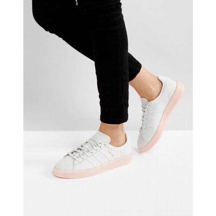 Adidas Originals - Campus - Baskets à semelle rose - Gris ...