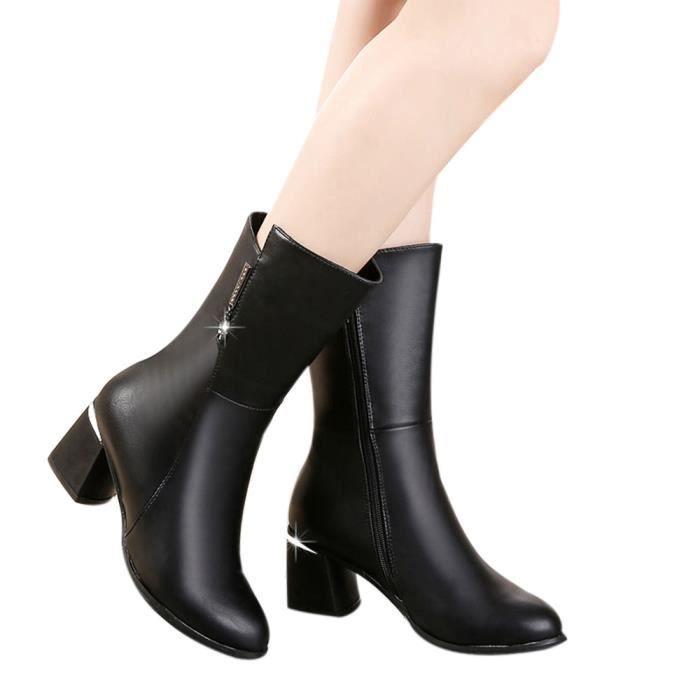 Bottes Bottines femmes Bottes mi Chaussures Femmes Bottes hautes Slip talons Place OkXTuPZi