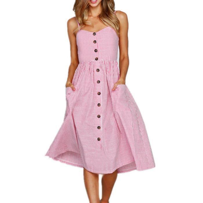 Robe Mi Longue Femmes D Ete Boutons Sexy Striped Encolure Robe Sans Manches Robe De Princesse Rose Rose Achat Vente Robe Cdiscount