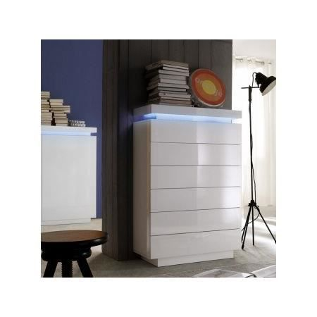 Commode led blanc laqu 6 tiroirs cameleon achat - Commode chambre blanc laque ...