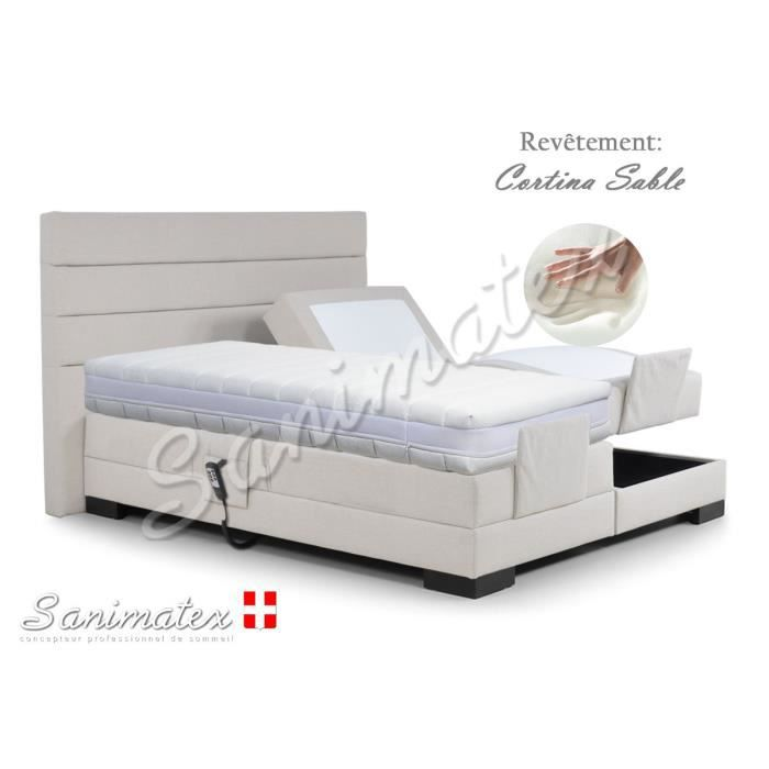 lit electrique boxspring 140x190 coronado niagara navy achat vente lit complet lit. Black Bedroom Furniture Sets. Home Design Ideas