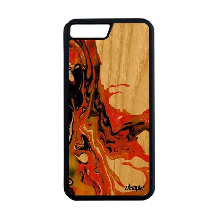 Coque iPhone 7 Plus en bois silicone peinture joli