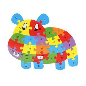 PUZZLE Puzzle de 26 lettres en bois avec animaux Ya-132